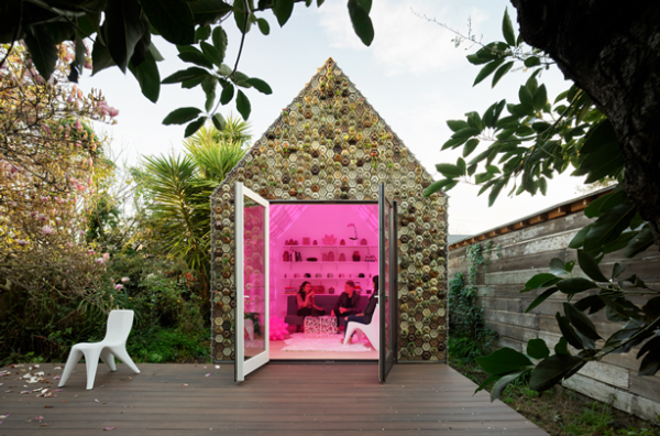 3D Printed Cabin Has Living Succulent Wall Made of Planter Tiles